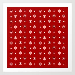 Red background with white snowflakes and stars pattern Art Print