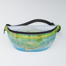 Lake reflections watercolor painting #5 Fanny Pack