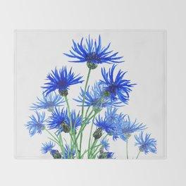 blue cornflower Throw Blanket