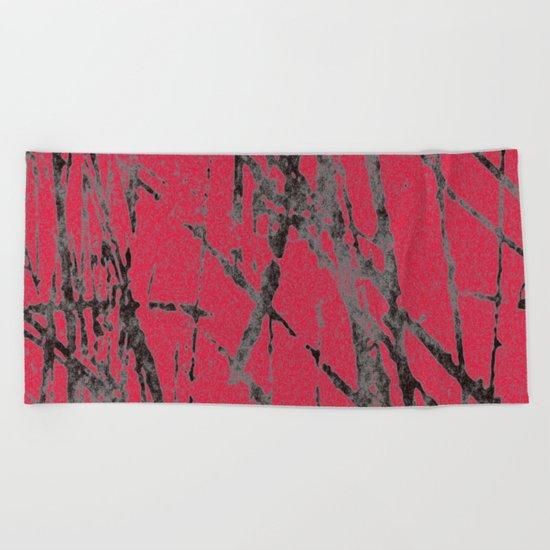 red black scratchy grunge Beach Towel