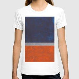 Minimalist Mid Century Rothko Color Field Navy Blue Dark Orange Grey Accent Square Color Block T-shirt