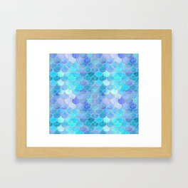 Aqua Pearlescent & Gold Mermaid Scale Pattern Framed Art Print