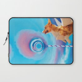 Giant pink cloud lollipop and a flying corgi Laptop Sleeve