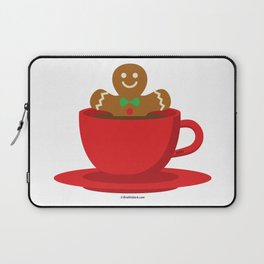 Gingerbread Man Relaxing In A Hot Chocolate Red Cup Laptop Sleeve