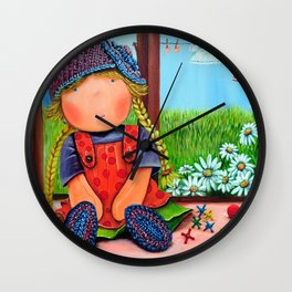 """Mia on """"Laundry Day"""",Girl nursery Fine Art Print, Whimsical Art for girls, The Mia Collection Wall Clock"""