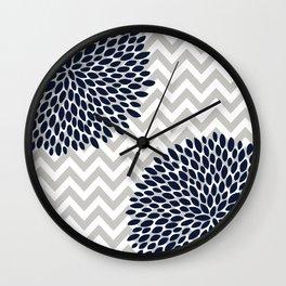 Chevron Floral Modern Navy and Grey Wall Clock