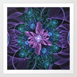 Bejeweled Butterfly Lily of Ultra-Violet Turquoise Art Print