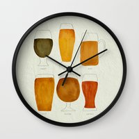 beer Wall Clocks featuring Beer by Cat Coquillette