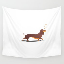 Funny dog sings song. Wall Tapestry