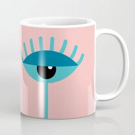 Unamused Eyes   Turquoise on Rosequartz Coffee Mug