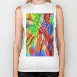 isolate palm tree with painting abstract background in red blue green yellow Biker Tank