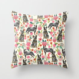 Australian cattle dog floral dog breed cream pet pattern custom gifts for dog lovers Throw Pillow