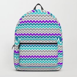Teal Turquoise Blue Purple Grey Gray Chevron  Backpack