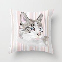 Lynx Point Siamese on Striped Background Throw Pillow