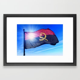 Angola flag waving on the wind Framed Art Print