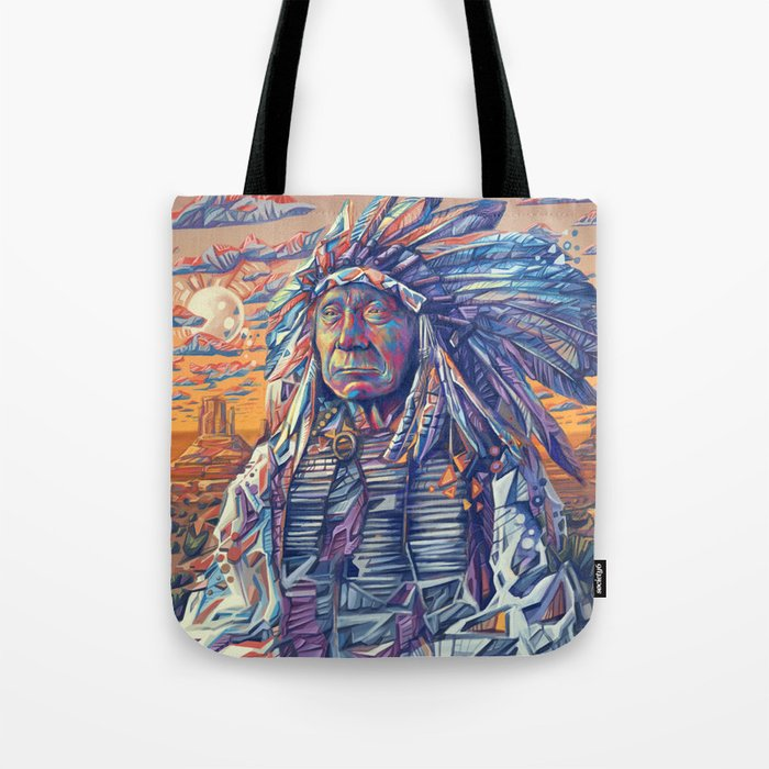 native american portrait-red cloud Tote Bag