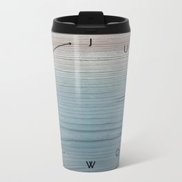 'Just now…' in weathered blue stain Metal Travel Mug