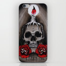 Voodoo Skull and Roses with candle iPhone Skin