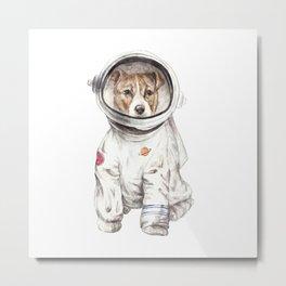 Laika Dog Watercolor Illustration Space Pup Metal Print