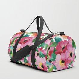 Neon pink orange green watercolor hand painted flowers Duffle Bag