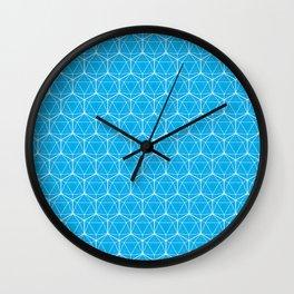 Icosahedron Pattern Bright Blue Wall Clock