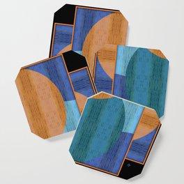 Orange Blues Geometric Shapes Coaster