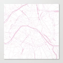 Paris France Minimal Street Map - Pretty Pink and White Canvas Print