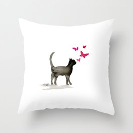 I Love Cats No. 3a by Kathy Morton Stanion Throw Pillow