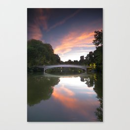 Sunset over Bow Bridge in New York Canvas Print