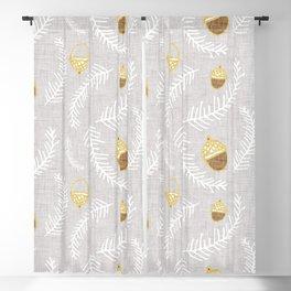 Holiday Floral Acorn Grey #Holiday #Christmas Blackout Curtain
