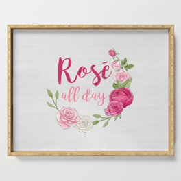 Rose All Day - White Wood Serving Tray