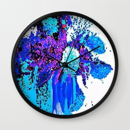 Spring Flowers Blues and Purple Abstract Wall Clock