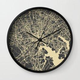Baltimore map yellow Wall Clock