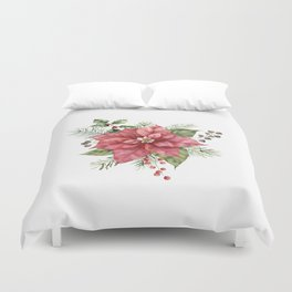 Floral Christmas Poinsettia and Holly Duvet Cover