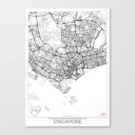 Singapore Map White Canvas Print