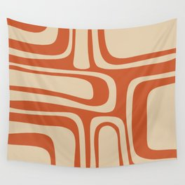 Palm Springs - Midcentury Modern Retro Pattern in Mid Mod Beige and Burnt Orange Wall Tapestry