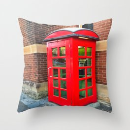 The Red Phone Booth Throw Pillow