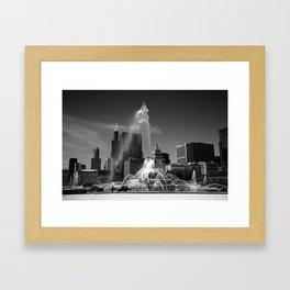 Chicago Skyline and Buckingham Fountain 2010 Framed Art Print