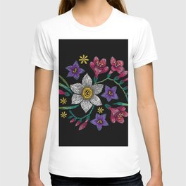 Embroidered Flowers on Black Circle 01 T-shirt