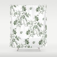 penis Shower Curtains featuring Penis Pattern GREEN by Daniel McLaren