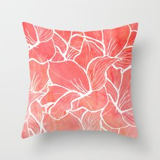 Modern white handdrawn flowers coral watercolor pattern Throw Pillow