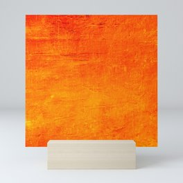 Orange Sunset Textured Acrylic Painting Mini Art Print