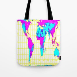 World Map: Gall Peters Colorful Tote Bag
