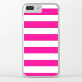 Horizontal stripes / deep pink Clear iPhone Case