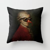 mozart Throw Pillows featuring Surreal Steampunk Mozart by Paul Stickland for StrangeStore