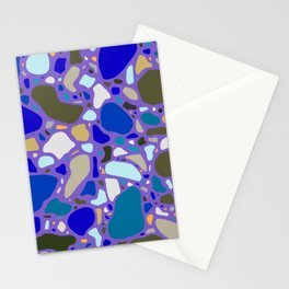 Blue Terrazzo Pattern Stationery Cards
