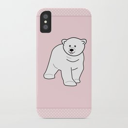 White bear on pink background iPhone Case