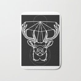 Geometric Stag Deer Head in White Bath Mat