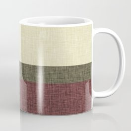 Tri Color Geometric Stripe Olive Green Red Wine Ecru Cream Burlap Print Coffee Mug
