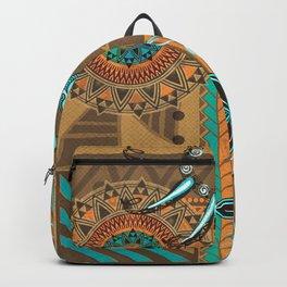 Hawaiian - Samoan - Polynesian gold and Teal Boar Tusk Print Backpack